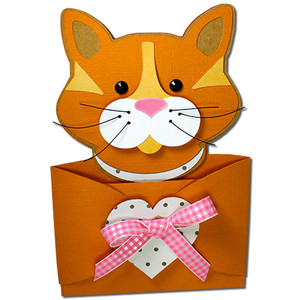 cat hug gift card holder