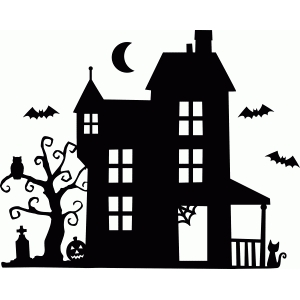 haunted house silhouettes coloring pages - photo#36