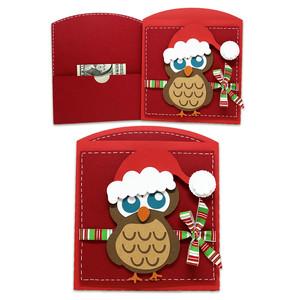 Owls Single Christmas Card - Money Wallet
