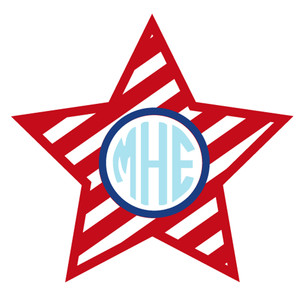 Silhouette Design Store View Design 269603 Stripe Star Monogram Frame