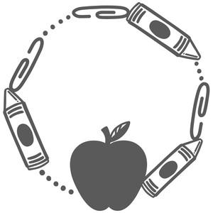 Silhouette Design Store View Design 271423 Apple Crayon Monogram Frame