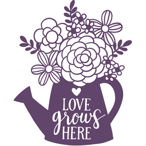 Silhouette Design Store View Design 275143 Love Grows Here Watering Can