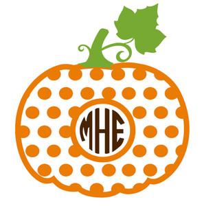 Silhouette Design Store View Design 149573 Pumpkin Polka Dot Monogram Frame