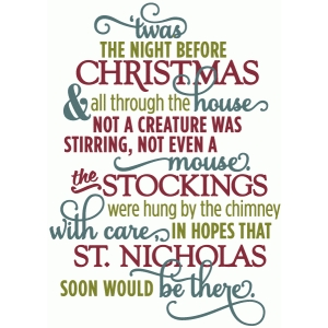 Silhouette Design Store - View Design #53034: twas night before christmas - layered poem