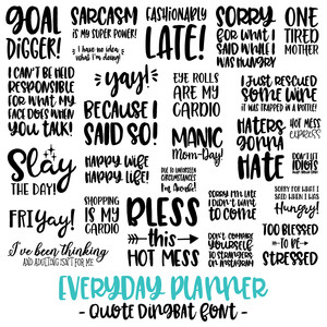 Silhouette Design Store - View Design #276074: everyday planner font