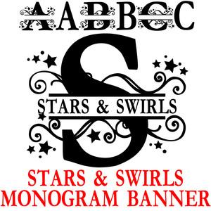Silhouette Design Store View Design 269884 Pn Star Swirls Monogram Banner