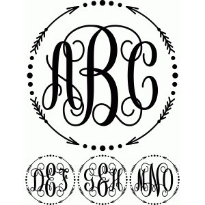 silhouette design store view design 82335 monogram script arrow