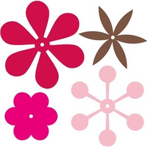 Silhouette Design Store - View Design #17646: 6-petal flowers