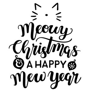 Meowy Christmas.Silhouette Design Store Meowy Christmas And A Happy New Year