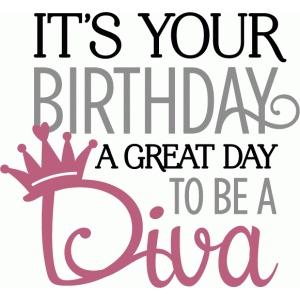 birthday diva Silhouette Design Store   View Design #79856: birthday diva phrase birthday diva