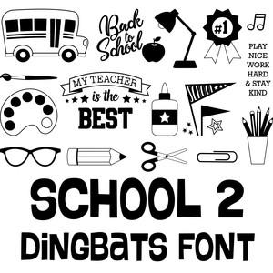 Silhouette Design Store: school 2 dingbats font