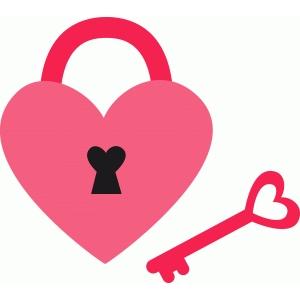Silhouette Design Store - View Design #72318: heart lock ...