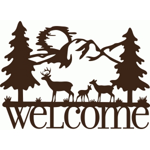 Silhouette Design Store View Design 84518 Welcome Deer Family