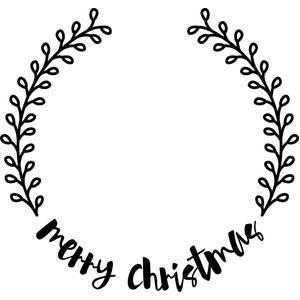 Christmas Wreath Silhouette.Merry Christmas Wreath