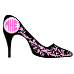 high heel flourish monogram