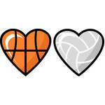 basketball and volleyball hearts set