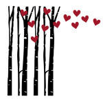 birch trees with hearts