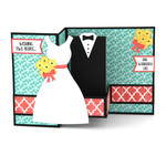 pop up box card wedding couple