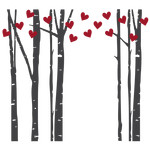 birch trees double with hearts