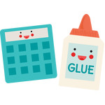 calculator and glue