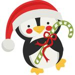 penguin holding candy cane