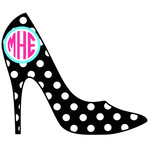 high heel polka dot monogram