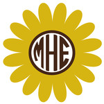 sunflower monogram frame