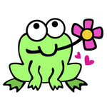 froggie with flower