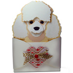 toy poodle hug gift card holder