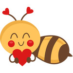 bee holding heart