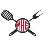 barbecue utensil monogram frame