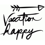 hand-inked 'happy vacation' title & element set