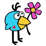 birdie with flower