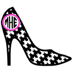 high heel houndstooth monogram frame