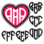 heart shaped monogram letters a-f