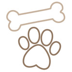 outlined paw and bone