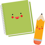 happy notebook and pencil