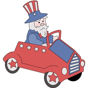 uncle sam in car