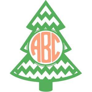 christmas tree chevron monogram