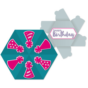 party hat hex-flap card