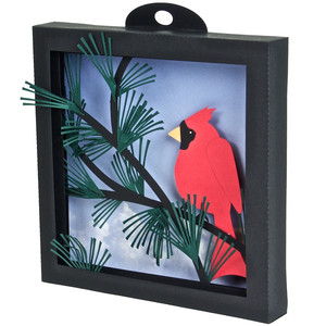 cardinal in the pines - 3d shadow box