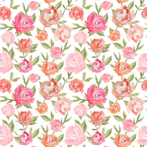pink watercolor flower peony pattern