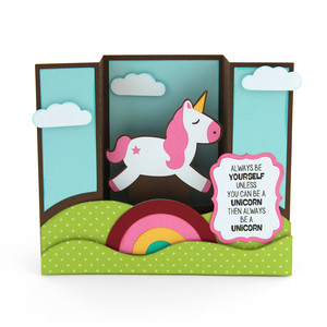 center box card unicorn