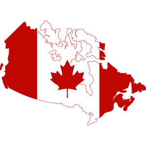 canada map with maple leaf