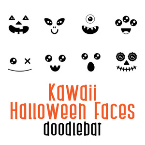 kawaii halloween faces doodlebat