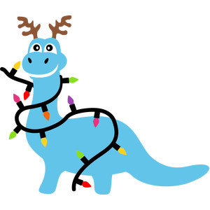 dinosaur and christmas lights