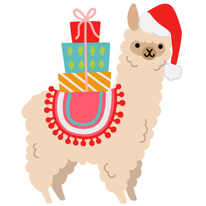 alpaca carrying christmas presents