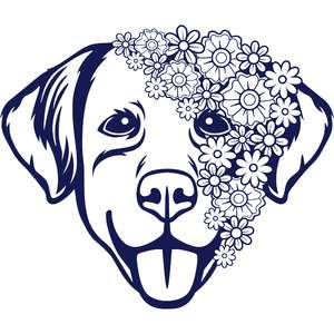 floral dog face mandala
