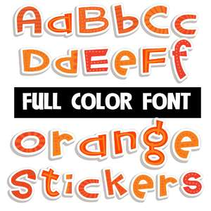 orange stickers color font