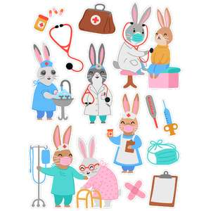 doctor and nurse bunny stickers